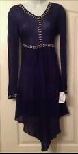 New designer Y LONDON black pointy hem beautifully embelished dress size M 10/12