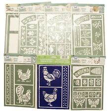 7 Plaid Craft Stencils Decorative Tole Paint Patterns Chicken,Bees,Butterfly +