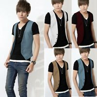 Men V Neck T Shirt Casual Formal Business Waistcoat Vest Suit Dress Coat Top