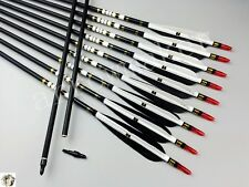 "12pcs Black White Turkey feather  31"" Carbon arrows Spine 500 arrows For Recurve"