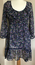 M&S Indigo Collecion Blue Floral Dress 10short