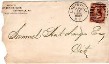 Louisville KY Cover Postal History 1887 Pendennis Club Envelope 3¢ LOOK RARE!@@!