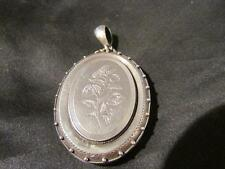 Exquisite Victorian Large Quality Solid Silver Engraved Book Collar Locket
