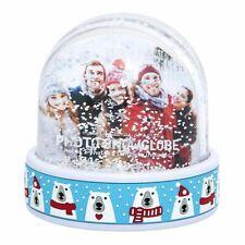 More details for christmas polarbear photo snowglobe decoration ornament frame glitter snowflakes