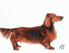 Original Oil Art Portrait Painting DACHSHUND WEINER Signed Artwork DOG PUPPY