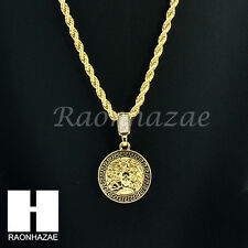 "MENS 14K GOLD PLATED PATTERN MEDUSA ROUND PENDANT 24"" ROPE NECKLACE CHAIN KN029"