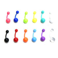 12x Flexible Navel Bar Barbell Rings Mixed Belly Button Piercing Body Jewelry hc