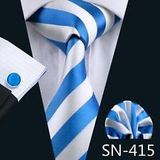 BLUE & WHITE STRIPE SILK TIE, HANKY & CUFFLINKS - ITALIAN DESIGNER