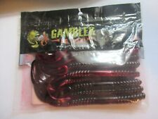 "Gambler 7"" Ribbon Tail Enhanced With Gambler Bite Red Shad Green 12 Pack New!!!"