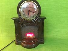 Vintage Mastercrafters Fireplace Clock WORKS Bakelite Animated #272