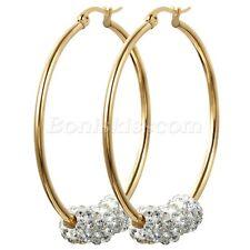 Women's Gold Tone Stainless Steel Round Circle Rhinestone Pierced Hoop Earrings
