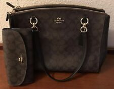 COACH Signature Christie Carryall and Clutch Wallet EUC Dark Brown/Black