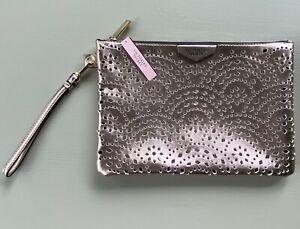 Victoria's Secret Blush Metallic Laser Cut Large Wristlet Clutch Purse NWT