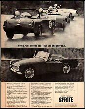 1964 Austin Healy Sprite Race Car Vintage Print Ad