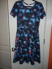 LuLaRoe - Amelia Dress - Black with blue & red geometric - Large - NEW with tags