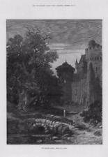 1877 Antiguo Impresión Fine Art Imagen puente sobre el río Castillo Torre Embrujada (083)
