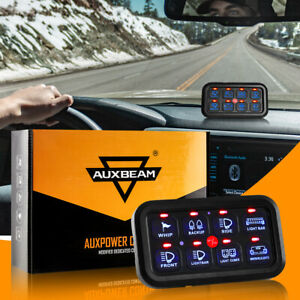 AUXBEAM 8 Gang On-Off Control LED Switch Panel Blue For Jeep Dodge SUV Truck 12V