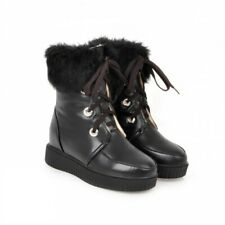 Womens Winter Snow College Lace Up Ankle Boots Fur Trim Comfy Shoes Size 34-43