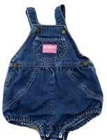 Vintage Oshkosh Denim Bubble Pink Tag Made In USA 3/6 Months Overalls