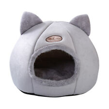 Large Cat Bed Cave Small Wool Cozy Pet Igloo Bed Winter House Nest Kennel Gray