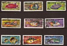 UMM  EL QIWAIN  lot de  9 timbres : les poissons de mer  PR325
