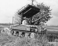 B&W WW2 Photo WWII M4 Sherman Calliope 14th Armored  World War Two US Army