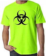 BIO HAZARD SYMBOL NEON T-SHIRT - Rave Goth Metal Toxic Sci Fi Biohazard FREE P&P