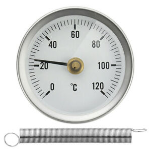 Bimetal Stainless Steel Dial Pipe Thermometer Temperature Gauge 0-120°C 63mm