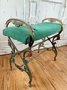 Antique Vintage Victorian Cast Iron Vanity Bench