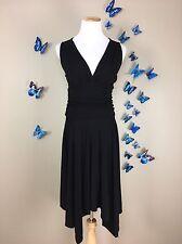 CYNTHIA STEFFE Anthropologie $198 VNeck Banded Waist Asymmetrical LBD Dress Sz M