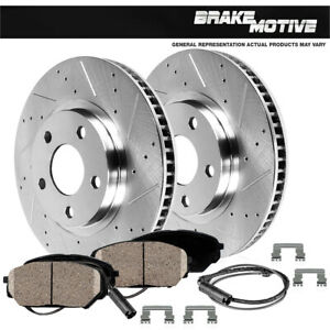 For Mercedes-Benz S550 S550e Front Drilled Slotted Brake Rotors & Ceramic Pads