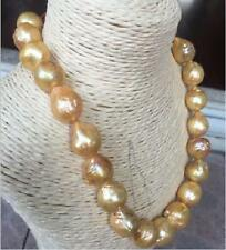 """HUGE 18""""16-19MM NATURAL SOUTH SEA GENUINE GOLD NUCLEAR PEARL NECKLACE"""