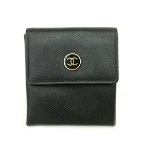 CHANEL Coco Button Black Leather Coin purse Wallet /C0390