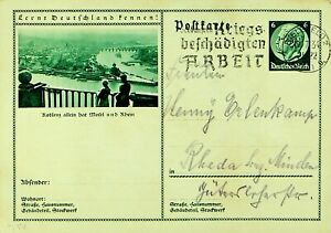GERMANY 1934 KOBLENZ VIEW 6pf HINDENBURG POSTAL CARD FROM BIELEFELD TO RHEDA