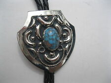 BOLO TIE #58T -Shield Design with Turquoise Colored Stone