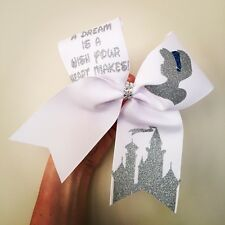 A Dream Is A Wish Your Heart Makes Cinderella Cheer Bow Silver Glitter Disney