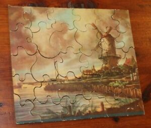 Vintage 1930's Dutch Windmill Wood Puzzle