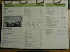 VOLKSWAGEN VW GOLF 1976-79 1,1, 1,5, 1,6 INFO TECHNICAL INFORMATION CAR OLY123