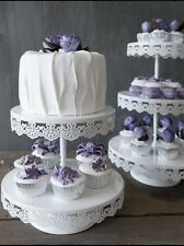 2 Tier LACE White Iron Metal Cupcake Cake Stand