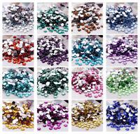 Bulk 20Pcs Faceted Round Crystal Glass Flat Back Acrylic Rhinestone 10mm No Hole