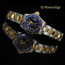 18k Gold IP Ladies Invicta Pro Diver Blue Dial Two Tone SS Bracelet Womens Watch