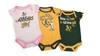 Oakland Athletics MLB Baby Infant Size Girls 3 Piece Creeper Bodysuit Set New