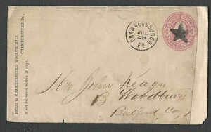 Ca 1865 COVER CHAMBERSBURG PA 5 POINTED BLACK STAR ON U58 ADDED PIECE AT RIGHT