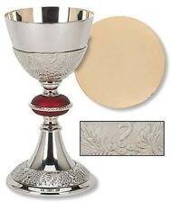 24KT Gold and Nickel Tone Grape Patterned Red Node Chalice and Paten Set (TS682)