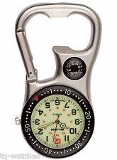 Carabiner Clip Belt Fob Watch. Luminous, Compass, Bottle Opener, Nurses Hikers