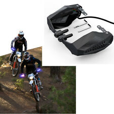 Motorcycle Handguard Grip Protect Hood w/ LED Blue Light & Yellow Turn Signal