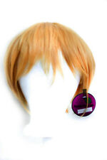 11'' Short Straight Men's Cut with Long Bangs Honey Blond Wig Cosplay NEW