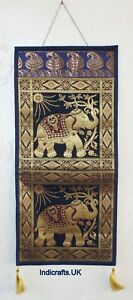 Indian Handicrafts Wall Art Banarasi Brocade Hanging Elephant Letter Holder Box