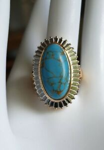 Blue Mojave Turquoise (20x10mm) Ring In 18ct Gold Plated. Size L