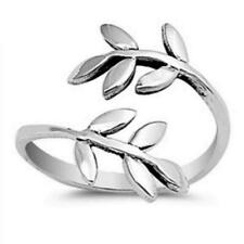 Wrap Toe Ring For Womens 14K White Gold Over Adjustable Leaf